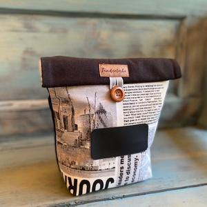 Feliratozható uzsonnás táska,  PUL béléssel (élelmiszerbiztos), NoWaste, Otthon & lakás, Bevásárló zsákok, zacskók , Konyhafelszerelés, UZSONNÁS TÁSKA feliratozható kréta filc textillel:  Hagyj minden nap egy kedves üzenetet! <3 A külső..., Meska