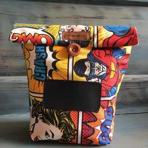 Feliratozható uzsonnás táska,  PUL béléssel (élelmiszerbiztos), NoWaste, Otthon & lakás, Bevásárló zsákok, zacskók , Konyhafelszerelés, UZSONNÁS TÁSKA feliratozható kréta filc textillel:  Hagyj minden nap egy kedves üzenetet! <3 Három r..., Meska