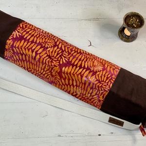 Jóga-fitnesz matrac táska, kezműves batikolt textillel, csak természetes anyagokból, Táska & Tok, Biciklis & Sporttáska, Jógatáska, Varrás, Két rétegű, jóga-fitnesz matrac táska, magas minőségű, természetes anyagokból:\nHagyományos eljárássa..., Meska
