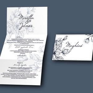 Elegáns esküvői meghívó - esküvői grafika - A6 leporello, Meghívó, Meghívó & Kártya, Esküvő, Fotó, grafika, rajz, illusztráció, Papírművészet, A meghívó 3x A6 (105 mm x148 mm) méretben készül.\n\nKérlek küld el nekem a szöveget, amit viszont sze..., Meska