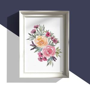 Akvarell virágok nyomat, Otthon & lakás, Dekoráció, Kép, Lakberendezés, Falikép, Képzőművészet, Festmény, Akvarell, Papírművészet, Festészet, A művészi nyomat 180-200g-os művész papírra készül.\nAz eredeti festmény  kézzel készített, általam f..., Meska