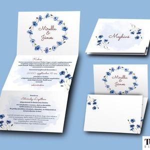 Búzavirágos esküvői meghívó - esküvői grafika - A6 leporello, Meghívó, Meghívó & Kártya, Esküvő, Fotó, grafika, rajz, illusztráció, A meghívó 3x A6 (105 mm x148 mm) méretben készül.\n\nKérlek küld el nekem a szöveget, amit viszont sze..., Meska