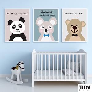 Állatfigurás poszteregyüttes  gyerekszobába - Baba kép - Mosómaci, koala, maci - A4/A3, Gyerek & játék, Gyerekszoba, Baba falikép, Baba-mama kellék, Fotó, grafika, rajz, illusztráció, Papírművészet, Igazán különleges kreatív ajándék, tökéletes dekoráció, Micimackós idézettel, melyel nem lehet mellé..., Meska