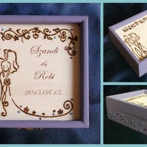 Esküvőre - lila romantika , Ékszer, Ékszertartó, Esküvő, Nászajándék, Gravírozás, pirográfia, Esküvőre boríték helyett, apró meglepetésnek.\nKisebb méretű dobozka lila akrilfestékkel festve, olda..., Meska