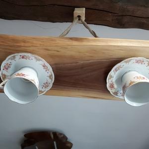 Vintage lámpa, Otthon & Lakás, Lámpa, Fali & Mennyezeti lámpa, Famegmunkálás, Teás csészéket hasznosítunk újra- Egy kis famegmunkálás- És készen van a konyhád, teraszod, otthonod..., Meska