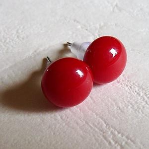Pötty fülbevaló piros (tuzcica) - Meska.hu