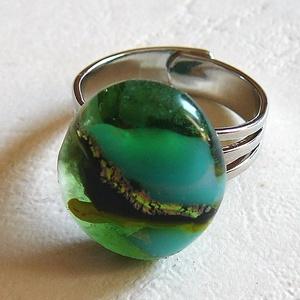 Zöld és kék  gyűrű (tuzcica) - Meska.hu