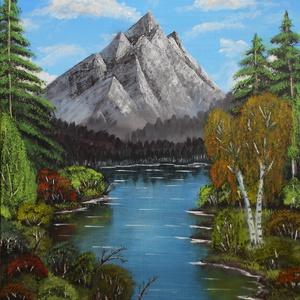 Ragyogó nyár a hegyekben, Dekoráció, Otthon & lakás, Képzőművészet, Festmény, Akril, Festészet, 50x60 cm-es, akril festmény, feszített vásznon.\nA lakás bármely helyiségének dísze lehet ez nagy, sz..., Meska