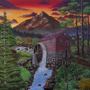 Hajnal a hegyekben, a régi malomnál. , Dekoráció, Otthon & lakás, Képzőművészet, Festmény, Akril, Festészet, 50x60 cm-es, akril festmény, feszített vásznon.\nA lakás bármely falának dísze lehet ez nagy, hangula..., Meska