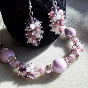 Rózsaszín borzas, Ékszer, Ékszerszett, Különböző rózsaszín ásvány, üveg gyöngy és akril gyönggyel kombinálva készült a tavasz szett. A fülb..., Meska