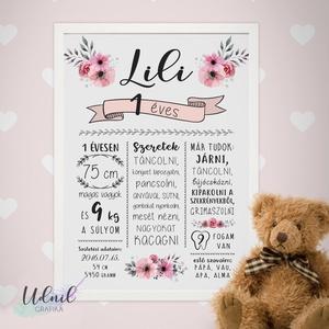 Virágos szülinapi poszter kislányoknak, Gyerek & játék, Dekoráció, Otthon & lakás, Lakberendezés, Falikép, Fotó, grafika, rajz, illusztráció, Egyedi, névre szóló poszter saját adatokkal A4 méretben digitális formában átadva.\n\nEz egy igazán kü..., Meska