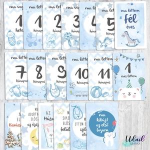 Baba fotó, mérföldkő kártya - Kék színben, Gyerek & játék, Grafika, Képzőművészet, Otthon & lakás, Illusztráció, Fotó, grafika, rajz, illusztráció, A baba kártyák - milestone kártyák a gyermek fényképezésekor használhatóak, hogy az évek elteltével ..., Meska