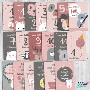 Baba fotó kártya + Megérkeztem kártya, Gyerek & játék, Otthon & lakás, Képzőművészet, Grafika, Naptár, képeslap, album, Fotó, grafika, rajz, illusztráció, A baba kártyák - milestone kártyák a gyermek fotózásakor használhatók, hogy az évek múltával könnye..., Meska