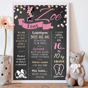 Minnie egeres szülinapi baba poszter, falikép - egyedi, névre szóló, Gyerek & játék, Gyerekszoba, Baba falikép, Dekoráció, Otthon & lakás, Fotó, grafika, rajz, illusztráció, Egyedi, névre szóló szülinapi poszter saját adatokkal A4 méretben digitális formában átadva.\n\nEz egy..., Meska