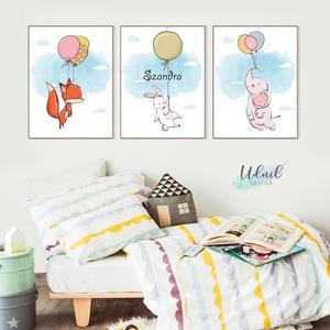 Lufis állatos poszter sorozat - Babaszoba, Gyerekszoba dekoráció, Gyerek & játék, Gyerekszoba, Baba falikép, Dekoráció, Otthon & lakás, Fotó, grafika, rajz, illusztráció, Dobd fel a gyerekszobát ezekkel a cuki kis lufival repülő állatokkal! :)\n\n3 db A4 méretű állatos kép..., Meska