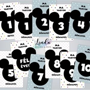 Babafotó kártya, hónapkártyák, Mérföldkő kártya, babakártya, Gyerek & játék, Baba-mama kellék, Fotó, grafika, rajz, illusztráció, Mickey egérre hasonlító illusztrációval díszített hónapkártyák, hogy a baba legjobb pillanatait megö..., Meska