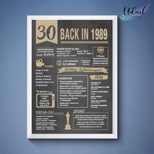 30. szülinapi poszter 1990, Dekoráció, Otthon & lakás, Kép, Grafika, Képzőművészet, Fotó, grafika, rajz, illusztráció, 30. 1989-es szülinapi poszter fix grafikával.\nA grafikán nincs lehetőség módosításra.\nA posztert dig..., Meska