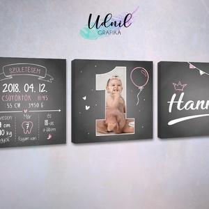3 részes vászonkép 1 éves szülinapra babakép, Gyerek & játék, Gyerekszoba, Baba falikép, Fotó, grafika, rajz, illusztráció, 3 részből álló egyedi vászonkép a baba fotójával és adataival. Remek szülinapi ajándék és egyben örö..., Meska