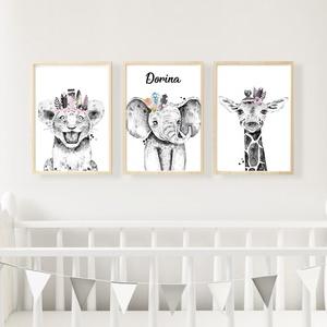 Safari indiános poszter sorozat - Gyerekszoba dekoráció, Gyerek & játék, Gyerekszoba, Baba falikép, Otthon & lakás, Fotó, grafika, rajz, illusztráció, 3 db A4 méretű állatos kép a gyermeked nevével 250g-os kreatív papírra nyomtatva (Keret nélkül!) \nKé..., Meska