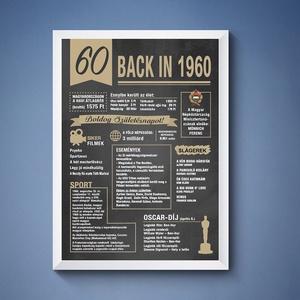 60. szülinapi poszter 1960, Dekoráció, Otthon & lakás, Kép, Grafika, Képzőművészet, Fotó, grafika, rajz, illusztráció, 60. 1960-as szülinapi poszter fix grafikával.\nA grafikán nincs lehetőség módosításra.\nA posztert dig..., Meska