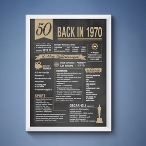 50. szülinapi poszter 1970, Otthon & lakás, Dekoráció, Kép, Fotó, grafika, rajz, illusztráció, 50. 1970-es szülinapi poszter fix grafikával. A grafikán nincs lehetőség módosításra. A posztert di..., Meska