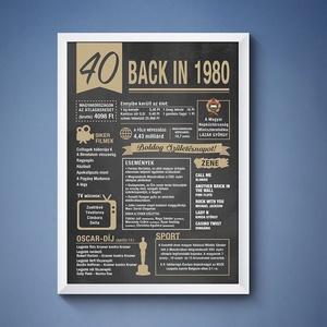 40. szülinapi poszter 1980, Grafika, Képzőművészet, Otthon & lakás, Dekoráció, Kép, Fotó, grafika, rajz, illusztráció, 40. 1980-as szülinapi poszter fix grafikával.\nA grafikán nincs lehetőség módosításra.\nA posztert dig..., Meska