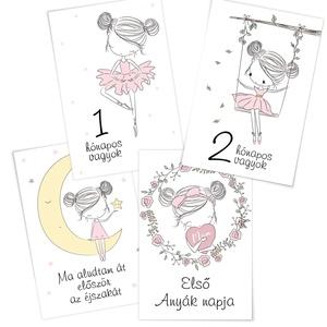 baba fotó, hónapkártya, mérföldkő kártya Hercegnős, Babafotózási ruha és kellék, Babaruha & Gyerekruha, Ruha & Divat, Fotó, grafika, rajz, illusztráció, A baba kártyák - milestone kártyák a gyermek fotózásakor használható, hogy az évek múltával könnyebb..., Meska