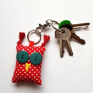 Piros pöttyös Uhu - bagoly kulcstartó - táska & tok - kulcstartó & táskadísz - kulcstartó - Meska.hu