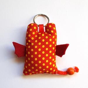 Narancs-sárga pöttyös sárkány kulcstartó - Kínai gömbláng (uhuesbaratai) - Meska.hu