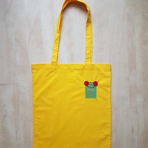 Hosszúfülű sárga szatyor pirosszemű zöld brekivel, Shopper, textiltáska, szatyor, Bevásárlás & Shopper táska, Táska & Tok, Varrás, Ha boltba vagy strandra mész, mindig jól jöhet egy könnyű, vállra akaszthatós táska, amit egy huncut..., Meska