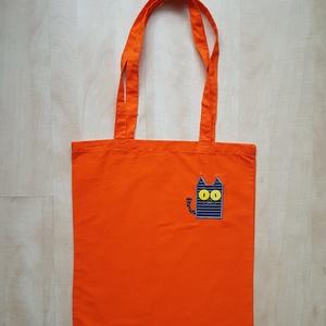 Hosszúfülű narancssárga szatyor szürke csíkos cicával, Táska, Táska, Divat & Szépség, Szatyor, Varrás, Ha boltba vagy strandra mész, mindig jól jöhet egy könnyű, vállra akaszthatós táska, amit egy huncut..., Meska