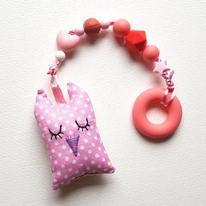 Szilikon rágcsalánc rózsaszín-virágos bagollyal - csendes, Játék & Gyerek, 3 éves kor alattiaknak, Rágóka, Varrás, Gyöngyfűzés, gyöngyhímzés, A babák első játéka lehet ez a rágcsalánc, ami nagy segítség a fogzás ideje alatt, a szilikongyöngyö..., Meska