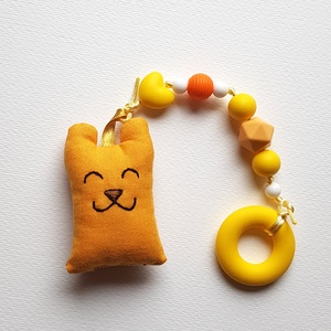 Szilikon rágcsalánc sárga textil macival - zizegős, Játék & Gyerek, 3 éves kor alattiaknak, Rágóka, Varrás, Gyöngyfűzés, gyöngyhímzés, A babák első játéka lehet ez a rágcsalánc, ami nagy segítség a fogzás ideje alatt, a szilikongyöngyö..., Meska