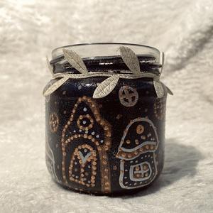 Mesebeli házikó fekete, pöttyös~Mécsestartó~Ajándék mécsessel, Gyertya & Gyertyatartó, Dekoráció, Otthon & Lakás, Festett tárgyak, Újrahasznosított alapanyagból készült termékek, Egyedi tervezésű-és kivitelezésű mécsestartó. Használható igazi, vagy ledes mécsessel. A rendeléshez..., Meska