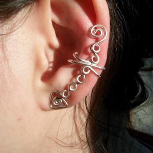 Hosszabb fazonú fülgyűrű , Ékszer, Fülbevaló, Fülgyűrű, Ékszerkészítés, Fémmegmunkálás, Meska