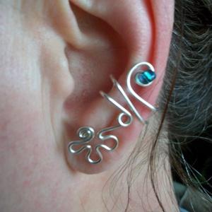 Türkízkék virágos fülgyűrű, Ékszer, Fülbevaló, Fülgyűrű, Ékszerkészítés, Fémmegmunkálás, Meska