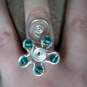 Kékeszöld gyűrű , Ékszer, Többköves gyűrű, Gyűrű, Ékszerkészítés, Fémmegmunkálás, Meska