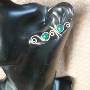 Malachit féldrágaköves fülgyűrű, Ékszer, Fülbevaló, Fülgyűrű, Ékszerkészítés, Fémmegmunkálás, Meska