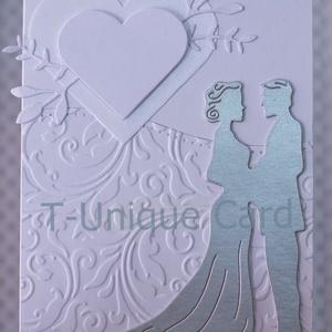 Egyedi Prémium Esküvői üdvözlőlap,esküvői köszöntő,3D figura,gratuláció,pénz átadó,ezüst pár,szerelmespár,névre szóló , Esküvő, Nászajándék, Meghívó, ültetőkártya, köszönőajándék, Naptár, képeslap, album, Otthon & lakás, Papírművészet, Egyedi, kézzel készített Prémium Esküvői Üdvözlőlap ezüst színű párral\n\n240gsm fehér, matt, kiváló m..., Meska