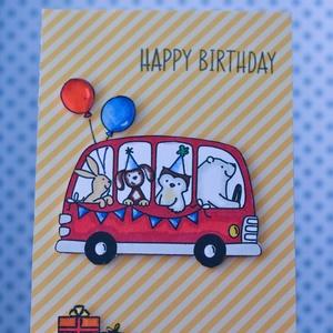 Egyedi, vidám állati birthday schoolbus köszöntőlap, születésnapi köszöntő, Naptár, képeslap, album, Otthon & lakás, Ajándékkísérő, Képeslap, levélpapír, Gyerek & játék, Papírművészet, SZERETNÉL A GYERMEKEDNEK, UNOKÁDNAK, MEGAJÁNDÉKOZOTTADNAK MARADANDÓ SZÜLETÉSNAPI ÉLMÉNYT NYÚJTANI?\n\n..., Meska
