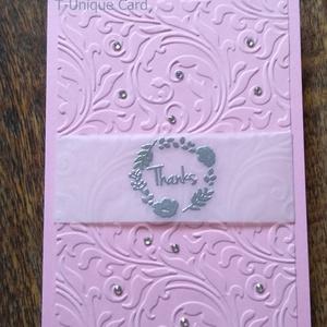 Finoman Elegáns Rózsaszín Köszönőlap, THANKS, Üdvözlőlap, Naptár, képeslap, album, Otthon & lakás, Képeslap, levélpapír, Ajándékkísérő, Anyák napja, Ünnepi dekoráció, Dekoráció, Papírművészet, Finoman Elegáns Rózsaszín Köszönőlap\n\n240gsm rózsaszín, matt, kiváló minőségű, oldalt nyíló karton a..., Meska