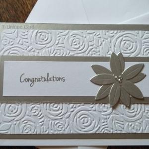 Ezüst színű rózsás gratuláló lap, Congratulations, Sparkling Silver, A6, Esküvő, Meghívó, ültetőkártya, köszönőajándék, Nászajándék, Naptár, képeslap, album, Otthon & lakás, Papírművészet, Elegáns ezüst színű rózsás gratuláló lap\n\n240gsm fehér, matt, kiváló minőségű, vízszintes fekvésű, a..., Meska