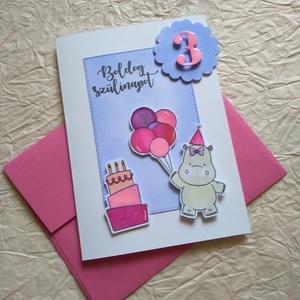 Rózsaszínű Vízilovas Szülinapi köszöntő  #Birthday#Hippo#Pink#, Otthon & Lakás, Képeslap & Levélpapír, Papír írószer, Papírművészet, Meska