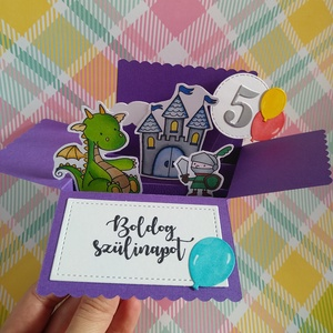 Sárkányos születésnapi doboz kártya lovaggal, Otthon & Lakás, Papír írószer, Képeslap & Levélpapír, Papírművészet, Meska