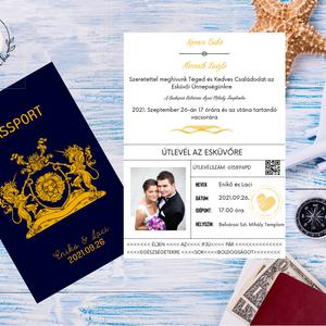 Passport Esküvői Meghívó, Útlevél stílusú, Modern meghívó, Tengerészkék, Navy, Burgundy, Fényképes meghívó, Nyári esküvő, Esküvő, Meghívó & Kártya, Meghívó, Papírművészet, Meska