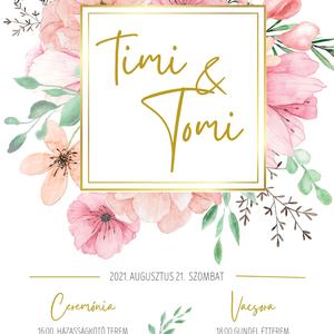 Virágos Esküvői Meghívó, Klasszikus meghívó, Nyári, tavaszi  minimál esküvő, Arany, Púder Rózsaszín,Vízfesték, Elegáns, Esküvő, Meghívó & Kártya, Meghívó, Fotó, grafika, rajz, illusztráció, Virágos Klasszikus Esküvői Meghívó ideális egy tavaszi vagy nyári esküvőhöz. Pasztell színek  és ara..., Meska