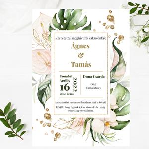 Trópusi virágos, dzsungel témájú elegáns esküvői meghívó arany cseppekkel díszítve, Lapuleveles modern ültetőkártya, , Esküvő, Meghívó & Kártya, Meghívó, Fotó, grafika, rajz, illusztráció, Meska