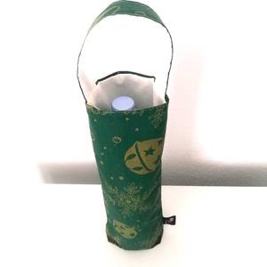 Bortartó zsák (karácsonyi mintás), Élelmiszer, Ajándék gasztro kosár, Varrás, Ez a bortartó zsák kétrétegű, 100% pamut kétszínű anyagból készül. Kívül zöld, karácsonyi mintás, be..., Meska