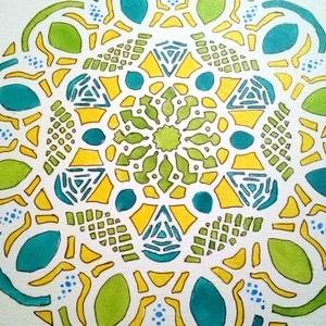 bőség Mandala vászon kép, Otthon & lakás, Dekoráció, Lakberendezés, Lakástextil, Falikép, Festett tárgyak,  Vászon  kézzel festett.\nAnyaga hordozó: vászon. Bőség,pénz siker,jólét bevonását segíti. Energiával..., Meska