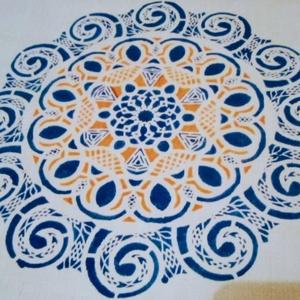 Mandala vászon táska, Táska, Divat & Szépség, Táska, Festészet, Szövés, Mandala motívum energiával feltöltött natur alapon házi szöttes vászon.\nKézzel készített : festett.i..., Meska
